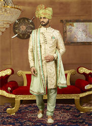 Heavy Designer Banarasi Silk Groom Sherwani