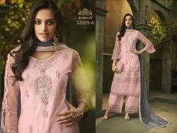 Latest EMbroidered Net Stylish Straight Suit