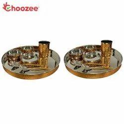 Choozee - Copper Thali Set of 2 (14 Pcs) of Thali, Bowl, Spoon & Glass