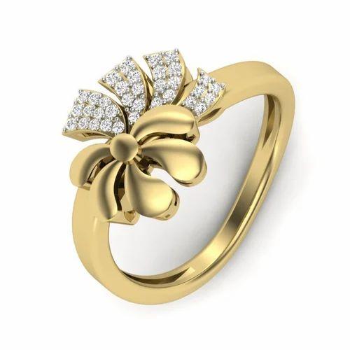 5a6547b72 Yellow Gold Diamond Ring - Diamond Pleasing Flower Ring in 18k ...