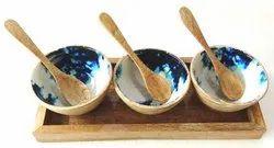 Natural & Enamel 1 Kg wooden soup Bowl, Size: 13x5