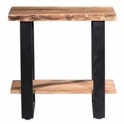 Rubra Wooden Table With Shelf, Size: 28x16x28 Inch