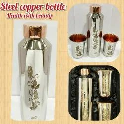 Stainless Steel Copper Water Bottle, Capacity: 950 mL