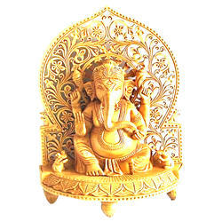 Hand Carved Sitting Ganesha Statue