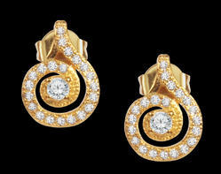 Sparkling Chank Cubic Zirconia Brass Stud Earring