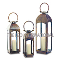 Rustic Antique Look Candle Lantern Set of 3