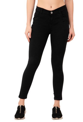 Black Stretchable Balika Women Denim Jeans, 15-40 Years