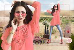 Perfect Peach Color Sizzling Georgette Kurti
