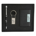 Leather Business Card Holder with Pen and Keyring Gift Sets
