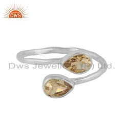 Sterling Silver Natural Citrine Gemstone Ring Jewelry