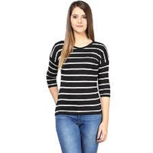 935103259 Casual Cotton Full Sleeve Women Black Round Neck Tops