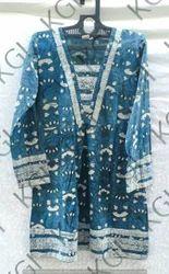 Cotton Blue Full Sleeve Kurti