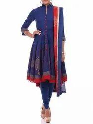 Biba Blue Pink And Purple Printed Salwar Suit With Dupatta