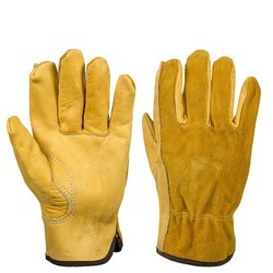 Leather Safety Gloves, Size: Medium