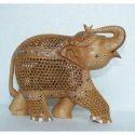 Wooden Elephant Undercut Up Trunk Statue