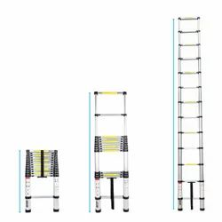 EQUAL Portable and Extension 15 Feet Telescopic Folding Aluminium Ladder for Household and Outdoor,