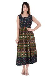 Jaipuri Printed Party Wear Long Frock for girls