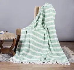 Green Printed Cotton Sofa Throw