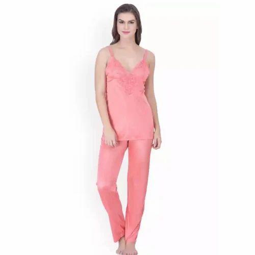 38a74d60bf Ladies Satin Silk Pink Plain Night Dress