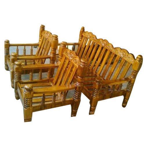Brown Antique Teak Wood Sofa Set