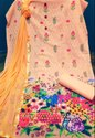 Cotton Unstitched Printed Suits With Chikan Work