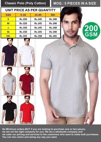862cafff5a1 Men Blank/ Plain Polo Neck Half Sleeve Poly Cotton T Shirts, Rs 140 /piece  | ID: 14957020073