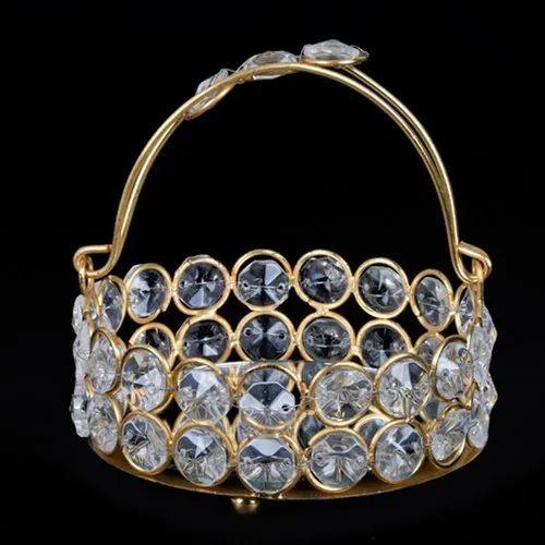 Brass,Crystal Crystal Decorative Brass Basket