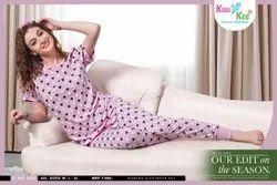 Female Printed KuuKee Hosiery Pajama Set