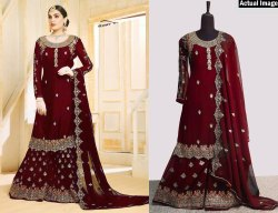 Pakistani Stitched Amazing Multicolor Georgette Embroidered Palazzo Suit