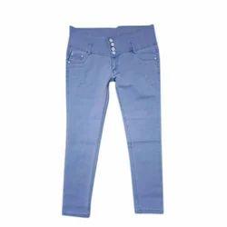 Sky Blue Ladies Plain Jeans, Size: S-XL