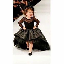 Black Net Kids Trendy Gown