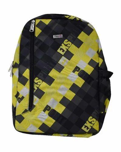 Yellow Printed Rexine Waterproof School Bag