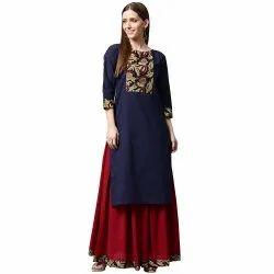 Blue Printed 3/4th Sleeve Cotton Kurta With Maroon Skirt