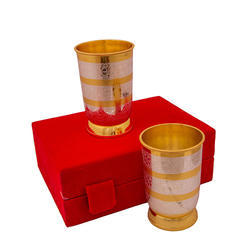 Traditional Silver And Gold Plated Glass Set