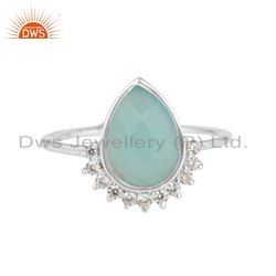 CZ Aqua Chalcedony Gemstone Designer Sterling Silver Ring Jewelry