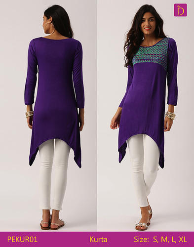 8b2c448408 Indusdiva Purple Tunic Tops Tunics For Women Knee Length Kurta With Khadi  Print And Curved Hemline