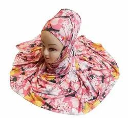 Women's Floral Printed Outdoor Wear Jersey Stretchable Material Printed Hijab Scarf Dupatta