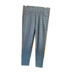Regular Fit Ladies Formal Check Pant, Machine Wash