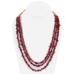 Ethnic Triple Line Garnet Stones Necklace 203