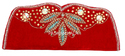 Red Embroidered Handmade Beaded Evening Clutch Purse, Size: Standard