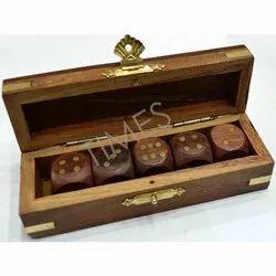 Brown Rose Wood Dice Box