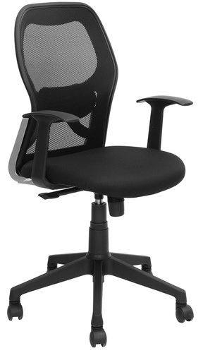 Leather And Fabric Black Mesh Office Chair 04 Back Rest Adjule Yes