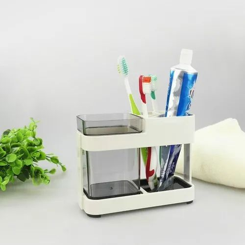 Stainless Steel Wire Toothbrush Holder Free Standing Bathroom Organizer Silver