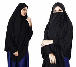 Black Plain Lycra Stretchable Stitched Islamic Chaderi Hijab With Veil And Sleeves