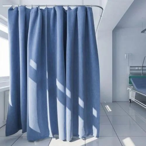 Blue Plain Cotton Hospital Curtain