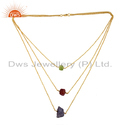 Peridot Ruby Gemstone Women 925 Silver Gold Plated Chain Necklace