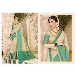 Triveni Formal Wear Ladies Cotton Saree, Packaging Type: Box, 6.3 m (with blouse piece)