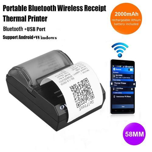 Ovio 58mm Bluetooth 4 0 Wireless Thermal Receipt Printer Pos Compatible  With Esc/pos Print Commands
