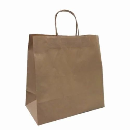 Dark Brown Plain Craft Paper Carry Bag, for Shopping