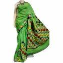 Ladies Green Printed Saree, Packaging: Plastic Bag